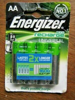 NEW Energizer AA  Accu Universal Rechargeable Batteries, PreCharged NiMH 1300mAh