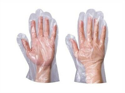 1000 x CLEAR POLYTHENE PE DISPOSABLE PREMIUM GLOVES Plastic Food Safe One Size