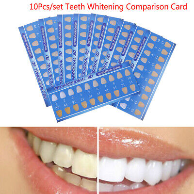 10Pcs Rectanglea Cold Light Teeth Whitening Color Palette Paper Shade Guide C HV