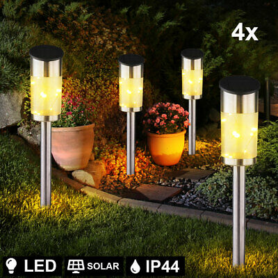 Set of 4 LED solar plug-in lamps stainless steel spotlights garden outdoor light