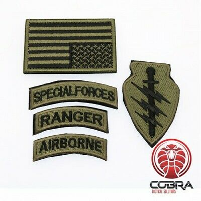 Military patch set Special Forces Ranger Airborn with flag USA Bronze and velcro
