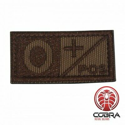 Military patch blood type O+ POS Brown velcro