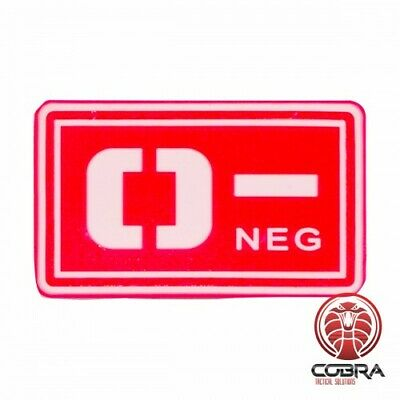 O- NEG blood type 3D PVC Military patch red with velcro