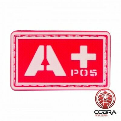 A+ POS blood type 3D PVC Military patch red with velcro