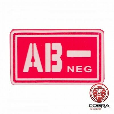 AB- NEG blood type 3D PVC Military patch red with velcro