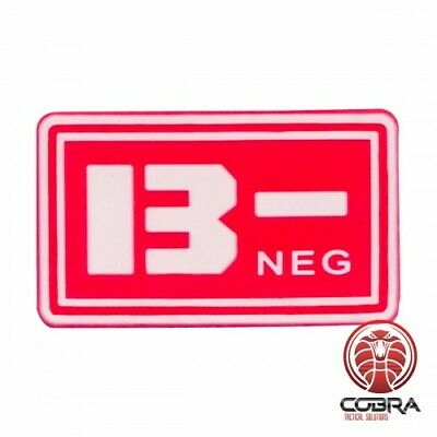 B- NEG blood type 3D PVC Military patch red with velcro