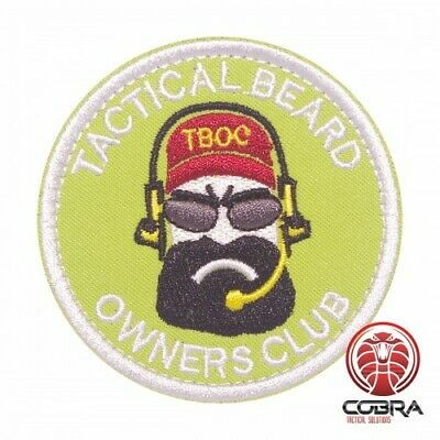 Tactical Beard owners club embroidered fluo green red patch with velcro