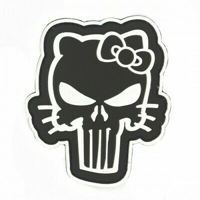 Hello Kitty Punisher PVC Cosplay Patch Black