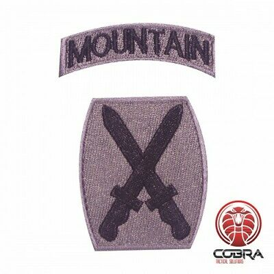10th Mountain Division with tab silver embroidered military patch with velcro