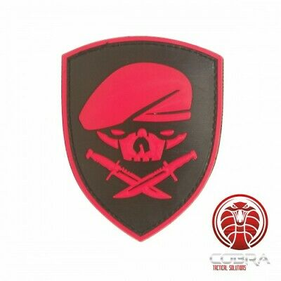 SAS beret skull 3D PVC patch red with velcro