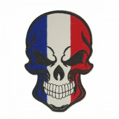 Skull patch with the colors of the French flag with velcro