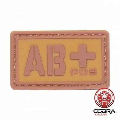AB+ POS blood type 3D PVC Military patch brown with velcro