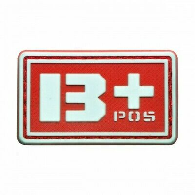 B+ POS blood type 3D PVC Military patch red with velcro