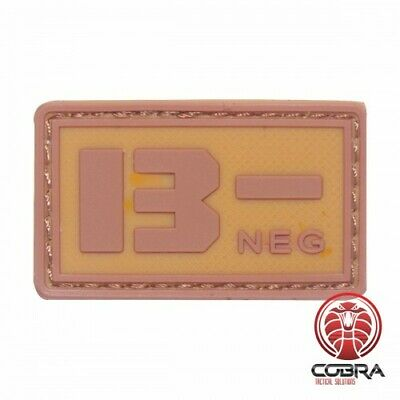 B- NEG blood type 3D PVC Military patch brown with velcro