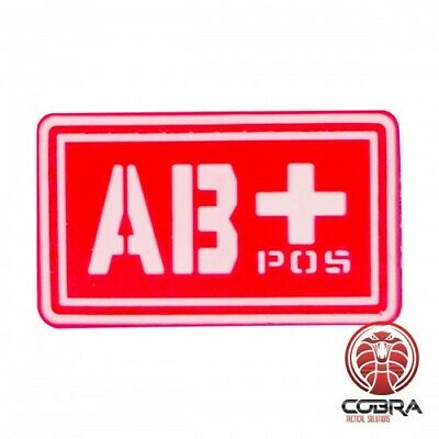 AB+ POS blood type 3D PVC Military patch red with velcro