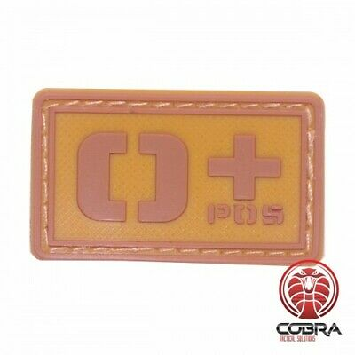 O+ POS blood type 3D PVC Military patch brown with velcro