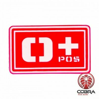 O+ POS blood type 3D PVC Military patch red with velcro