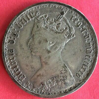 "1875 Great Britain ""Gothic Type"" Florin (Two Shillings) Old Sterling Silver Coin"
