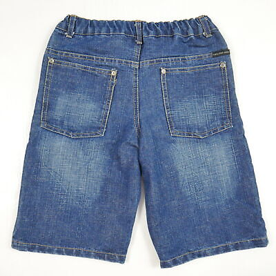 Calvin Klein Elastic Waist Jean Shorts Crosshatch Denim Dark Wash Boys Sz 7 EUC