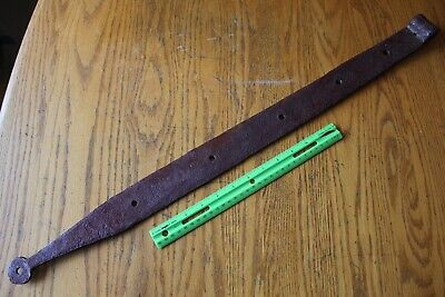 1 Rusty Wrought iron hinge strap barn decor Vintage Antique hand wrought 30""