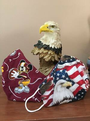 Face Mask  Washable,  Flexible Nose Piece,100% Cotton, ADULT  Redskins / Eagle