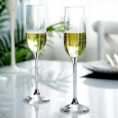 Champagne Flutes filled with Crystal From Swarovski Gift Box Pair