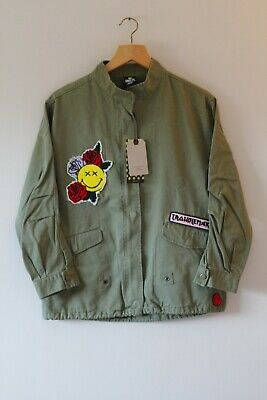 Brand New Girls Zara Khaki Green Smiley Patch Military Jacket | Age 13-14