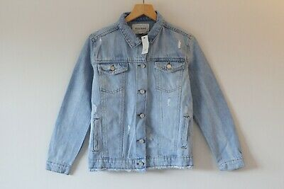Brand New Girls River Island Light Wash Distressed Denim Jacket | Age 11-12