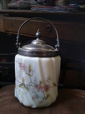 Antique Wavecrest Cracker Biscuit Barrel Jar Silver Plated Lid & Handle Roses