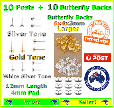10x Earring Stud Post Findings + 10x Butterfly Backs Posts 4mm Pad 1.2cm Length