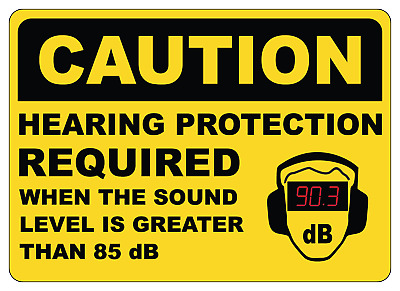 OSHA CAUTION: HEARING PROTECTION REQUIRED | Adhesive Vinyl Decal Sign Label