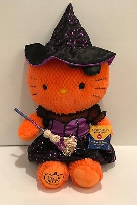 "🎃 Build A Bear Halloween Hello Kitty Orange Plush with Witch Outfit 18"" Tall 🎃"