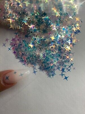 Holographic Iridescent  4 Point Star Glitter  | 1 TSP | Gel Nail Art & Acrylic