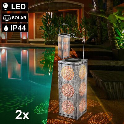 2x LED solar outdoor plug stand lights park balcony lamps hanging spotlights