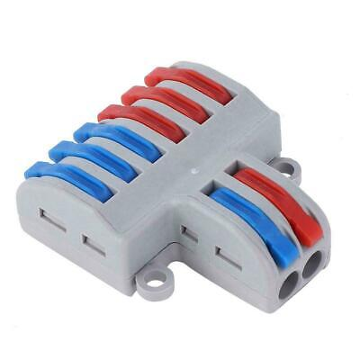 5Pcs 2 in 6 out Reusable Electrical Connectors Wire Block Clamp Terminal Cable