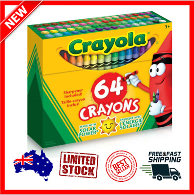 Crayola Crayon Box with Sharpener, 64 Colours, Gift, Colouring, Drawing, NEW