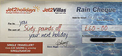 2 X Jet2Holidays £60 Rain Cheque voucher Promo Code (Sent in Message)