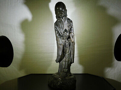 Rare-Chinese Ming Dynasty Black Patina Bronze/Metal Sculpture of Immortal Statue