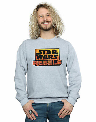 Star Wars Official Clothing Mens Hoodie Navy Melange Rebel Logo /& Text