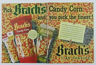 1948 BRACHS CANDY CORN Fine Candies Colorful 2 Page Magazine Print Ad