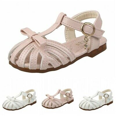 Kids Girls Flats Closed Toe Sandals Children Fashion Princess Gladiator Shoes L