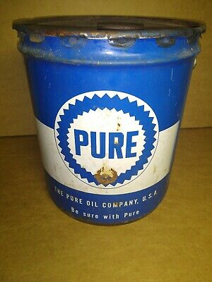 Vintage Pure Gearlube 5 Gallon Oil Gas Can with Lid Empty Service Station USA