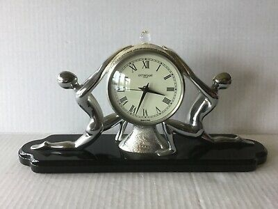 Vtg New Ottaviani  Sculpture Clock Silver 800 Statue  Made in Italy NIB