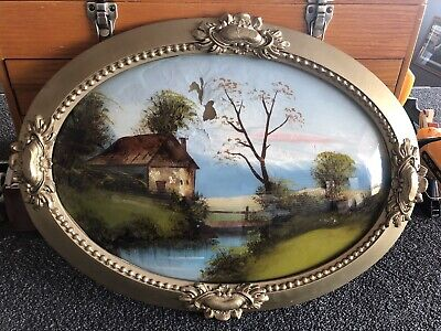 Vintage Oval Reverse Painted Bubble Glass Gold Frame