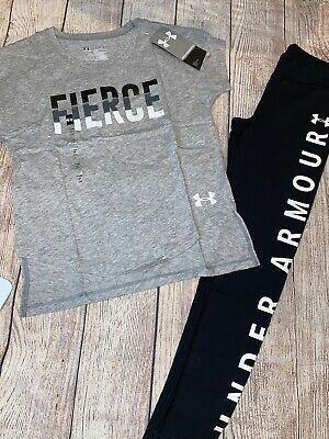 Under Armour Youth Small Girls Legging Tee Outfit Set NEW Fierce Grey Black