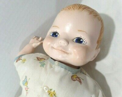 """Hand painted ceramic / PORCELAIN BABY DOLL - 12"""" cloth body - no markings"""