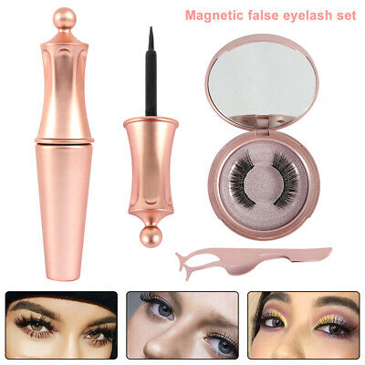 Magnetic False Eyelashes Natural Eye Lashes Extension Liquid Eyeliner & Tweezer~