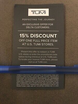 [VERIFIED] TUMI 15% Discount Coupon Online or In Store, Expires Dec 31, 2020