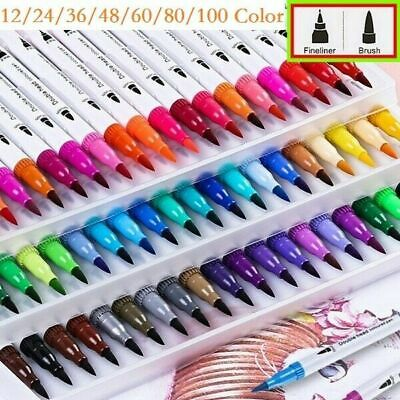 60 Colour Brush Pens Set Dual Tips Soft Fine Art Markers Drawing Watercolour UK