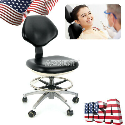 Dental Doctor Assistant Rolling Stools Adjustable Height Mobile Chair Black PU